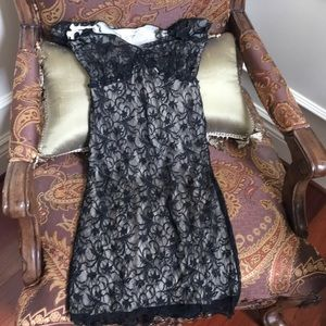 Max Studio Mini Black and Beige Small Lace Dress